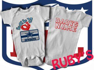 Dallas Cowboys Custom JERSEY ROMPER BABY LOVES COWBOYS   ADD BABYS
