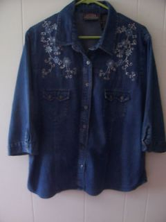 WOMENS WESTERN EMBROIDRIED SIZE X LARGE SHIRT BY OZARK MOUNTAIN JEAN