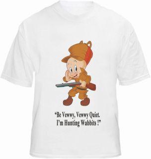 Elmer Fudd T shirt Cartoon Character Retro Farmer Bugs Hunting Wabbit