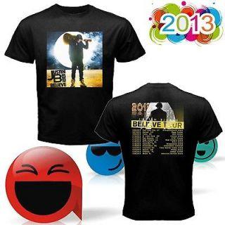 NEW JUSTIN BIEBER BELIEVE TOUR DATES 2013 TWO SIDE BLACK SHIRT S 2XL