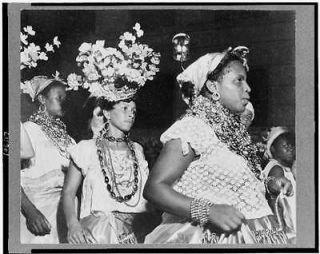 carnival,head dress,flowers, beads,dress,Ri o de Janeiro,Brazil ,1941
