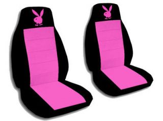 cute car seat covers black/hot pink velour with hot pink bunny