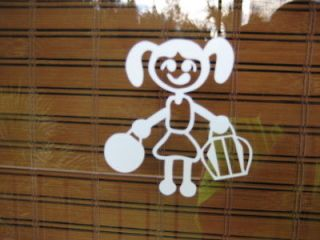 Very Cute Stick People Bowling Decal Sticker for car small girl Free