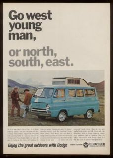 1967 Dodge A100 camper van photo print ad
