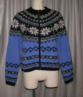 DESIGN Nordic cardigan sweater S 42B wool ski purple black white