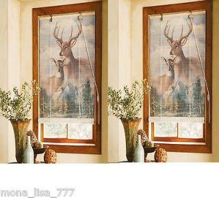 OF 2 BAMBOO 40L DEER WINDOW BLINDS CABIN HUNING ANIMAL CURAIN DECOR