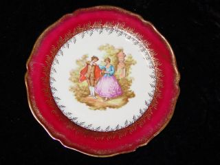 France Fragonard Romantic Scene Collector Plate Maroon Red/Gold 8 1/2