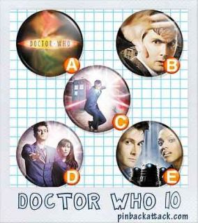 DOCTOR WHO Series 10 Set 1 David Tennant 1 one inch 25mm BUTTONS Set