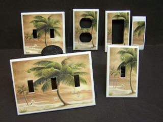 TROPICAL PARIDSE BEACH PALM TREE # 8 LIGHT SWITCH COVER PLATE OR