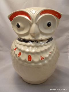 Vintage Owl Cookie Jar Cold Painted Accents   Made by Jewel Tea