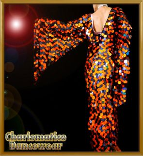 CUSTOM ORANGE BLACK WING SEQUIN DrAG Transvestite CABARET QUEEN STAGE