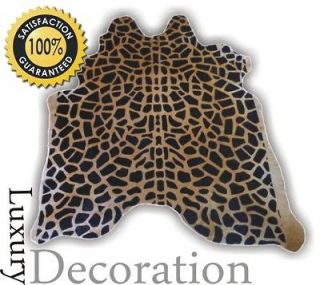 Brazilian Cowhide Rug ★ Stenciled Giraffe Animal Printed Hair on Cow