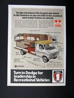 Dodge Van Chassis for Motorhomes RVs cutaway view 1973 print Ad