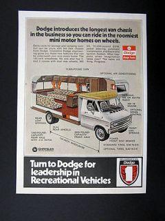 Dodge Van Chassis for Motorhomes RVs cutaway view 1973 print Ad