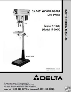 Delta 16 1/2 Drill Press Instruction Manual #17 925