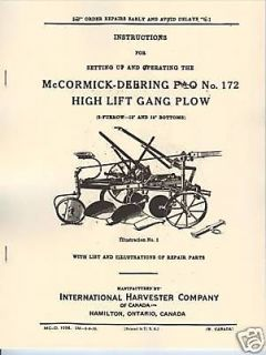 McCormick Deering P&O 172 Gang Plow Manual Horse Drawn International