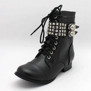 FDW Womens New Abbey Dawn Avril Lavigne Wild Child Combat Black Boots