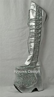 Devious Fabulous 3035 silver pat glitter thigh high platform boots men