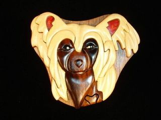 Wood Art Intarsia CHINESE CRESTED DOG Puzzle Jewelry Trinket Box