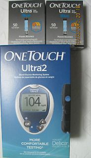 One Touch Ultra Blue Test Strips,2x50CT Free Glucometer