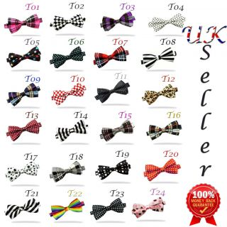 New Satin Novelty Bow Tie Dickie Bow Pre Tied   Striped Checked Polka