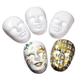 12 Design Your Own White FULL FACE MASKS BLANK Paintable Halloween