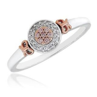 Diamond and Natural Pink Diamond 10k White and Rose Gold Ring 1/10ctw