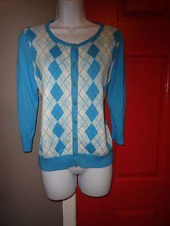 Talbots Turquoise Argyle Cardigan Sweater Size Medium