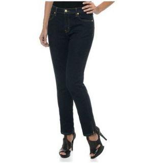 DG2 Diane Gilman Stretch Denim Skinny Jeans with Ankle Zip Indigo 14