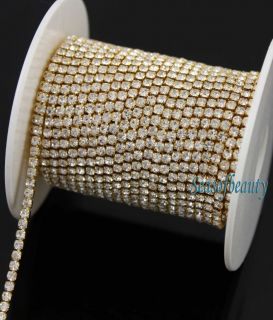 10yds SS6.5 Gold Tone Diamante Rhinestone Trim Wedding Cake Banding