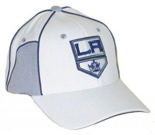 LOS ANGELES KINGS LA NHL HOCKEY WHITE CUT UP FLEX FIT FITTED HAT/CAP M