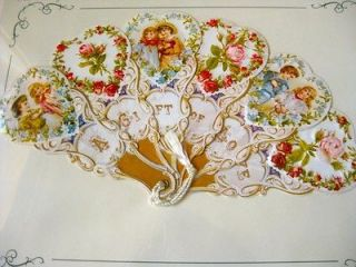 Large Diecut Victorian Fan Greeting Card Children, Hearts, and Roses