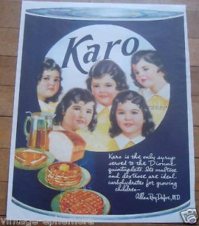 1938 DIONNE QUINTS QUINTUPLETS PRINT AD FULL COLOR KARO SYRUP NICE