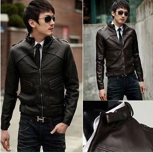 NEW Mens Slim Top Designed Sexy PU Leather Short Jacket Coat 2 Color