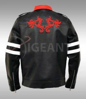 Mens PROTOTYPE Alex Mercer Gaming Faux Leather Jacket Twin Dragon