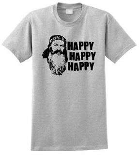 Duck Dynasty Phil Robertson T Shirt Happy Happy Happy TV Show Hunting
