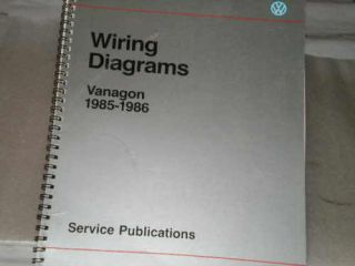 VW WIRING DIAGRAMS, VANAGON 1985 1986