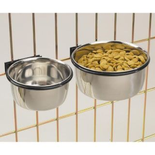Stainless Steel Coop Cups dog dish bowl hangs from pet wire Cages