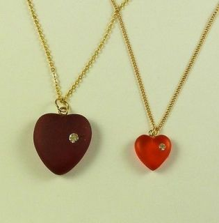 MOTHER DAUGHTER NECKLACE JEWELRY VINTAGE RED HEART LUCITE CRYSTAL