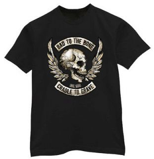 BIG & and TALL * Bad to the bone cradle to the grave biker tee shirt t