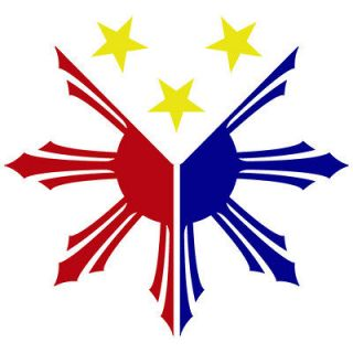 PH 04) 3 COLOR PHILIPPINES FLAG LOGO FLAG SUN STAR CUSTOM VINYL DECAL