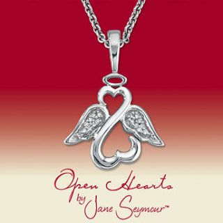 Open Hearts by Jane Seymour Diamond Halo Angel Wings Necklace Pendant
