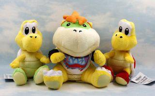 super mario bros koopa troopa bowser 6 7 soft plush doll toy lot 3