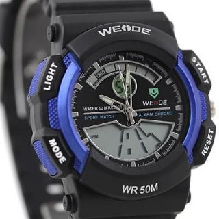 Newly listed Mens Sport Dive Watch Black & Blue 50M Water Resistant