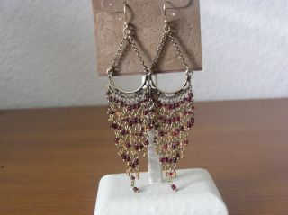 Lucky Brand Maroon Glass Seed Bead Chandelier Earrings