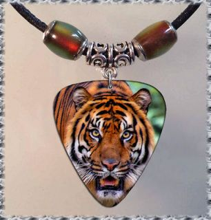 MOOD Tiger Face GUITAR PICK NECKLACE Tibetan Silver Leather Jewelry