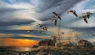 Terry Redlin Silent Sunset Canadian Goose Farm Encore Print