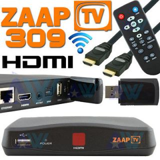 Receiver Arabic Turkish Greek Channels Zaap TV HD 309 w/ WiFi Dongle