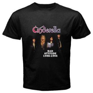 New CINDERELLA   NIGHT SONGS Retro Rock Band Mens Black T Shirt Size S