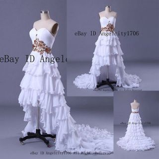 line Front Short Back Long Wedding Dress Bridal Wedding Party Gown